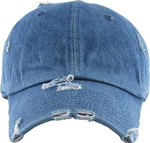 260e75bb KBETHOS Vintage Washed Distressed Cotton Dad Hat Baseball Cap Adjustable  Polo Trucker Unisex Style Headwear (Vintage) Medium Denim Adjustable