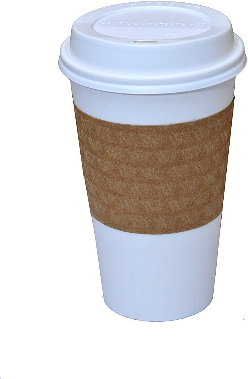 100 Paper Coffee Cup/Disposable Hot Cup 16 oz. WHITE with 100 Cappuccino Lids and 100 Sleeves