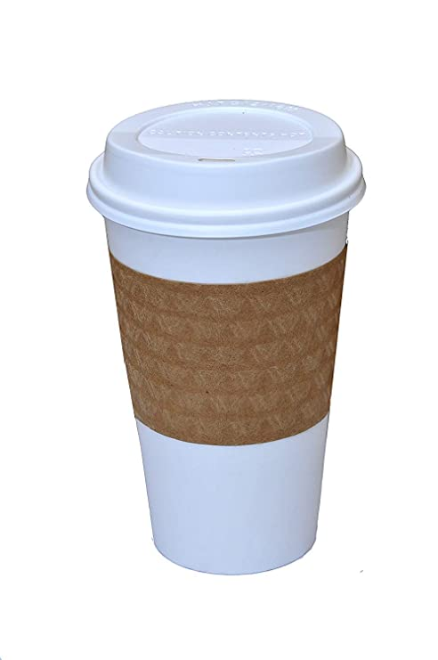 611b9a436ab 100 Paper Coffee Cup/Disposable Hot Cup 16 oz. WHITE with 100 Cappuccino  Lids and 100 Sleeves