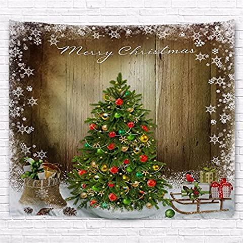 A.Monamour Grunge Wooden Wall Backgrounds Pine Tree With Presents Ball Ornaments Snowflakes Christmas Holiday Printed Tapestry Wall Hanging Curtains For - Christmas Tree Tapestry