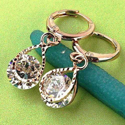 Pendientes de aleación de moda Moda Mujer/Niña Pendientes colgantes de piedra blanca de color oro rosa