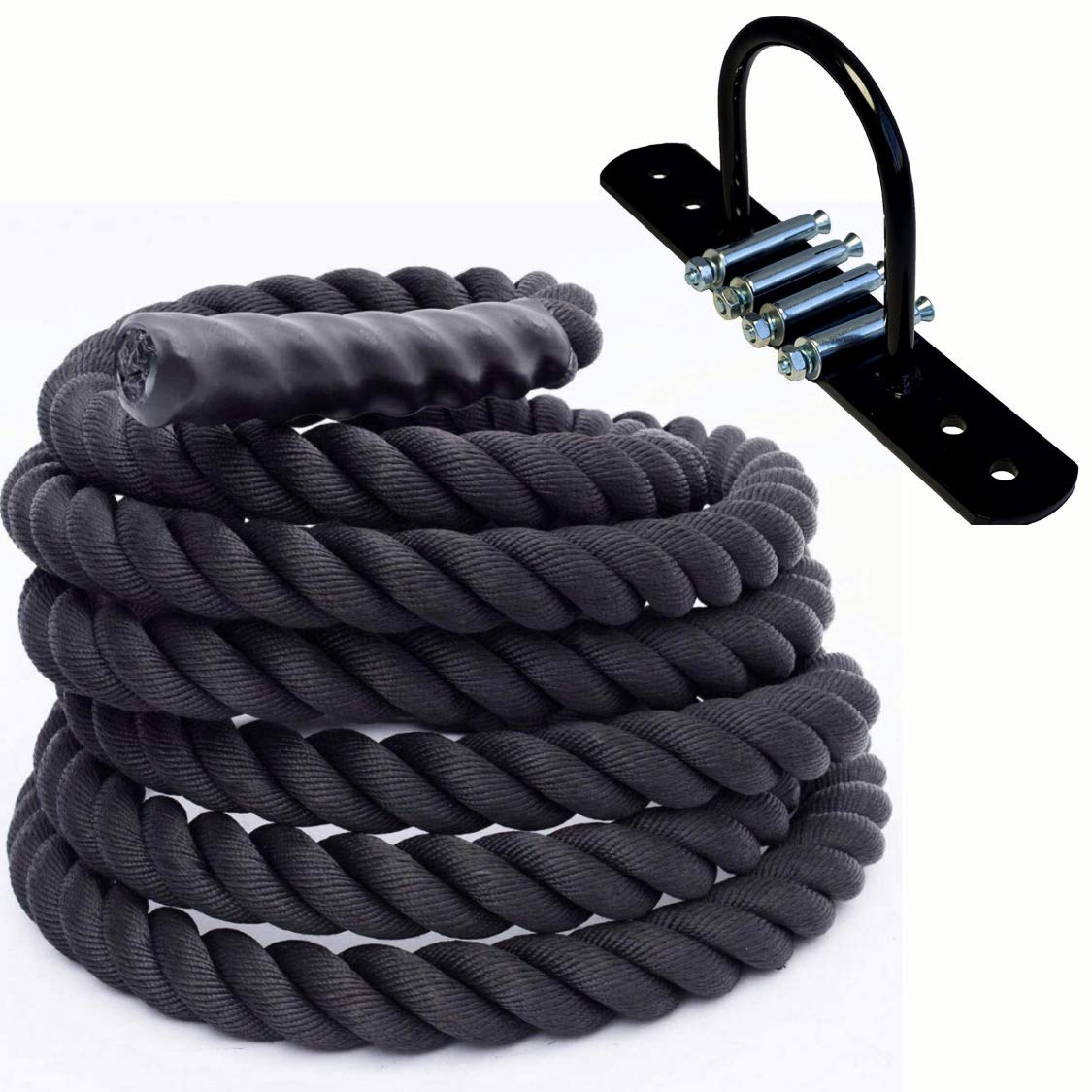 Hunaly Battle Rope 1.5'' Width 30ft Length with Battle Rope Kit Included