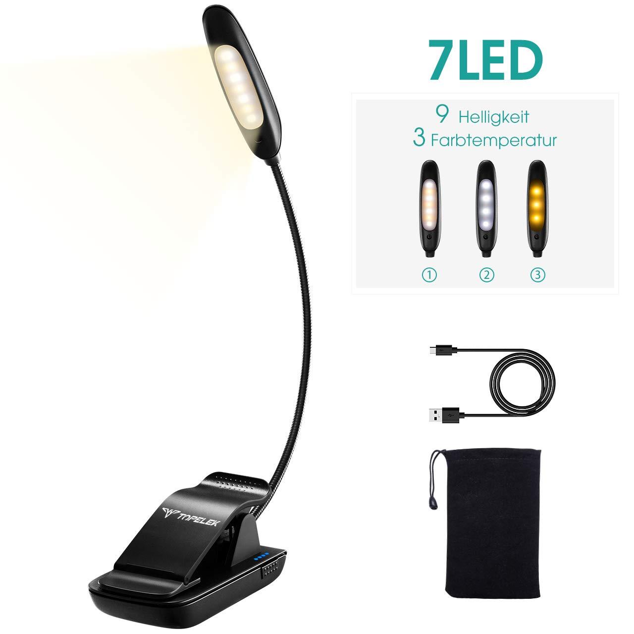 Leselampe Buch Klemme TOPELEK 7 LED Buchlampe, LED Klemmleuchte mit 3 Farbtemperatur und 3 Helligkeitseinstellungen, 360° Flexibel und USB Wiederaufladbare LED Leselampe Klemme, Notenständer lampe mit LED-Betriebsanzeige, Tischlampe kinder für Kindle, Buch