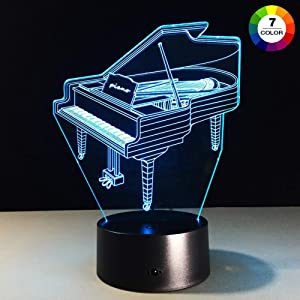 AZIMOM 3D Illusion Night Light, 7 Colors Changing Nightlight for Kids with Smart Touch Optical Illusion Bedside Lamps Bedroom Home Decoration for Kids Boys & Girls Women Birthday Gifts (Piano)