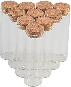 TAI DIAN 30x100mm 50ml Glass Bottles Vials Jars Test Tube with Cork Stopper Empty Glass Transparent Clear Bottles 50pcs (50, 50ml-30x100mm)