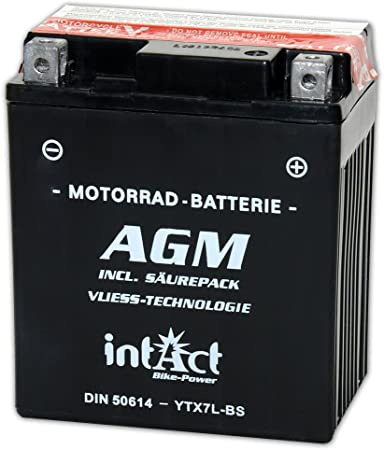 Motorcycle Battery 12 V 6 Ah Agm 50614 Ytx7l Bs Auto
