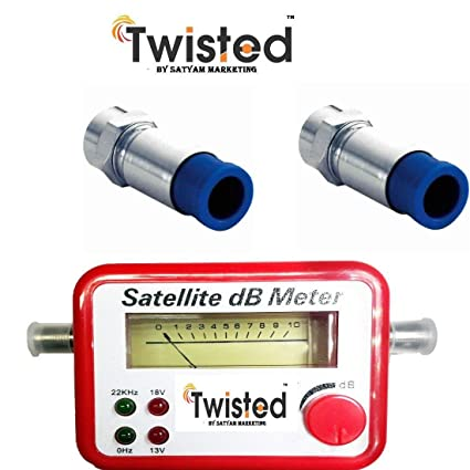 Twisted Satellite Signal Finder DB Meter for Full,Hd Dish TV Network  Setting with 2 Rg6 Compression Connectors