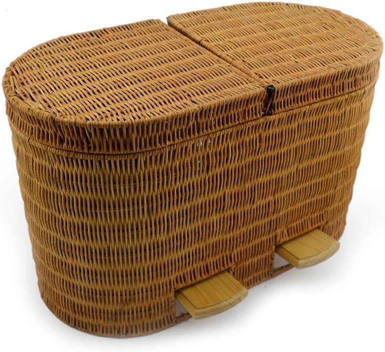 XIAOWEI Residuos y Reciclaje 2 en 1 Pedal Tejido de ratán Cubos de Basura de Interior Cocina doméstica Contenedores de Basura de Barril Doble Contenedores de Basura de Reciclaje de Basura Contenedor