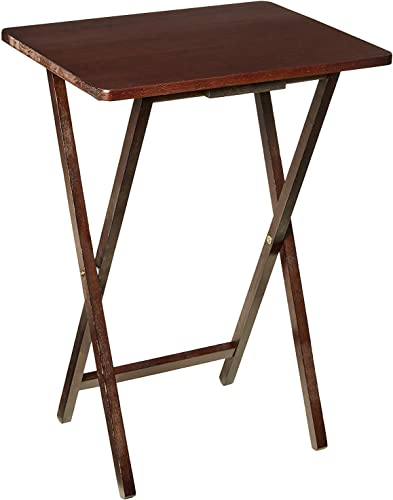 PJ Wood Single Folding TV Tray Snack Table – Espresso