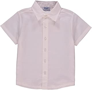 P&P Baby Boy Spring Short Sleeve Button Up - Classic Cream Dress Shirt