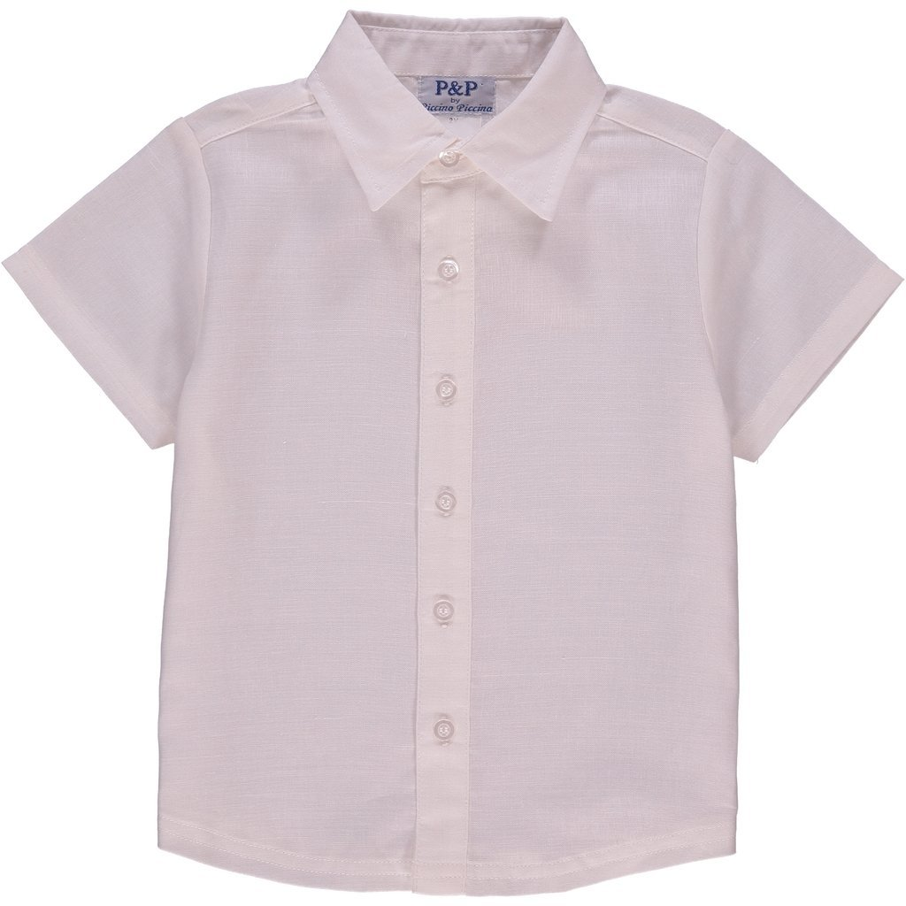 Classic Cream Dress Shirt 4 Years P/&P Baby Boy Spring Short Sleeve Button Up