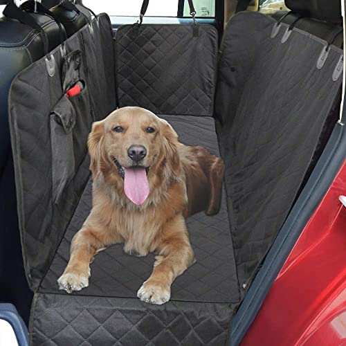 JOJEPET 100 Waterproof Dog Car Seat Covers, Dog Seat Cover with Side Flaps, Pet Seat Cover for Back Seat – Black, Hammock Convertible