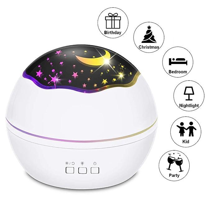 Slowton Luz de noche Lámpara de noche para la habitación de los niños Luz de noche estrellada proyector LED lámpara estrella Luna proyector rotació