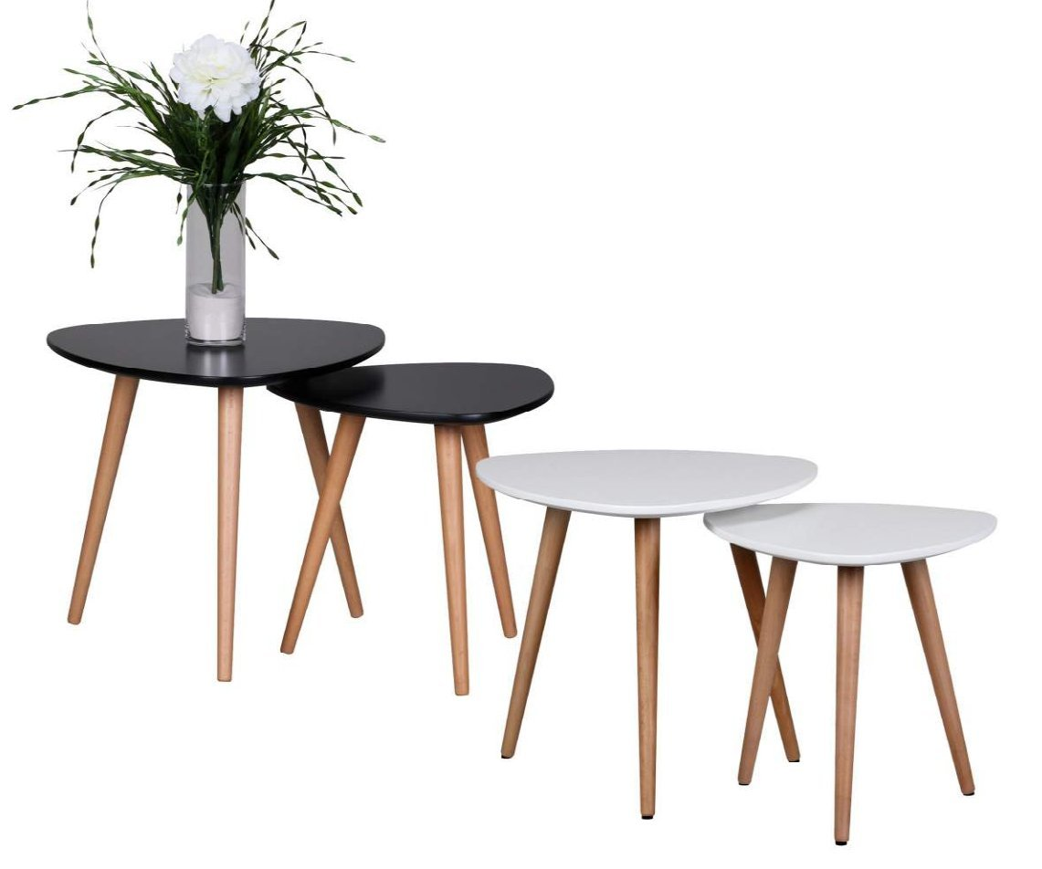 Design Beistelltisch 2er Set SKANDI Form Dreieck Skandinavischer Retro Look Satztisch | Matt Lackierter Wohnzimmertisch mit Holz-Gestell | Wohnzimmer Möbel Tisch | Dreibein Couchtisch 2 Teilig Weiß