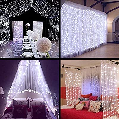 DecalGalore String Lights 304 leds Icicle Window Night Light LED Curtain Fairy Lights ,8 modes, Christmas Wedding Party Outdoor Decor Rope Lighting 9.8x9.8ft(118in118in)