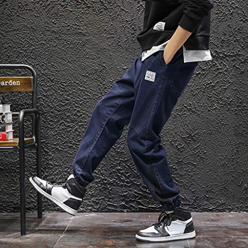 8ae1bb72f9555 YKARITIANNA Mens New Fashion Casual Cotton Pure Color Elastic Waist Pockets  Loose Jeans Pant