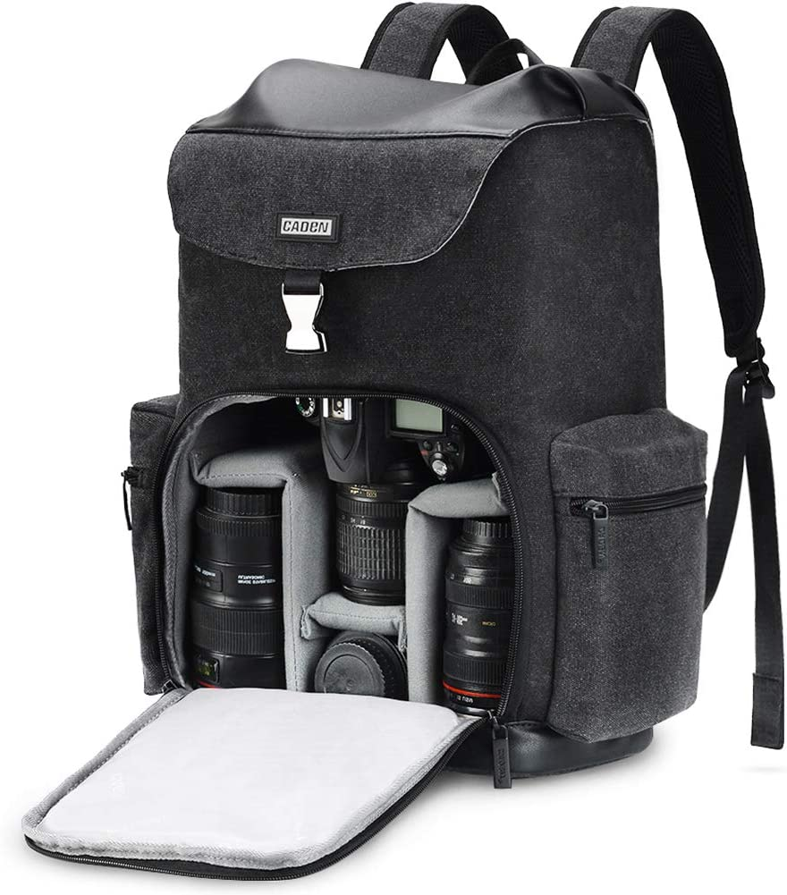 """CADEN Professional Waterproof DSLR Camera Backpack Bag Canvas with Laptop Compartment 15.6"""" and Tripod Holder, Camera Case Backpack Large for Mirrorless Cameras Canon Nikon Sony Pentax Lens etc"""
