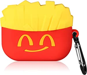 Punswan Smile French Fries Airpod Case for Airpods Pro/3,Cute 3D Funny Cartoon Character Soft Silicone Catalyst Pony Cover,Fun Cool Keychain Design Skin,Fashion Cases for Girls Kids Boy Air pods Pro 3