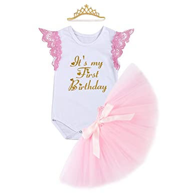 021f79bff425 Amazon.com  FYMNSI Baby Girls It s My 1st Birthday Cake Smash Romper ...