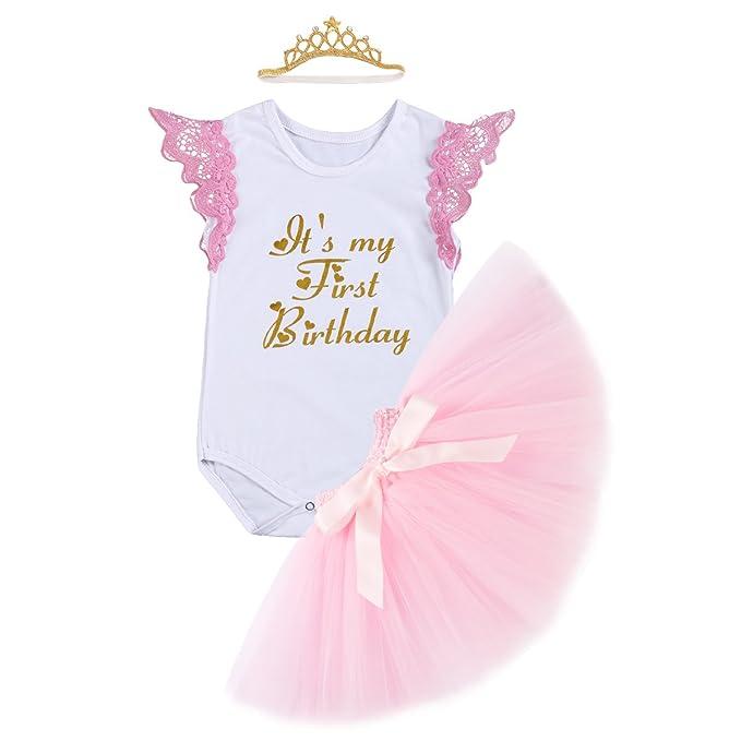 1c16ef4cd IWEMEK Bebé 1er Cumpleaños Unicornio Niñas Princesa Trajes de Fiesta 3pcs  Conjunto de Mameluco + Falda