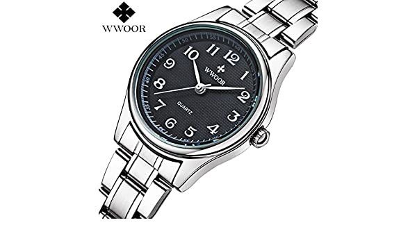 Amazon.com: Mastop Luxury Analog Quartz Black Dial and Date Womens Watches Business Stainless Steel Dress Watch Silver: Watches
