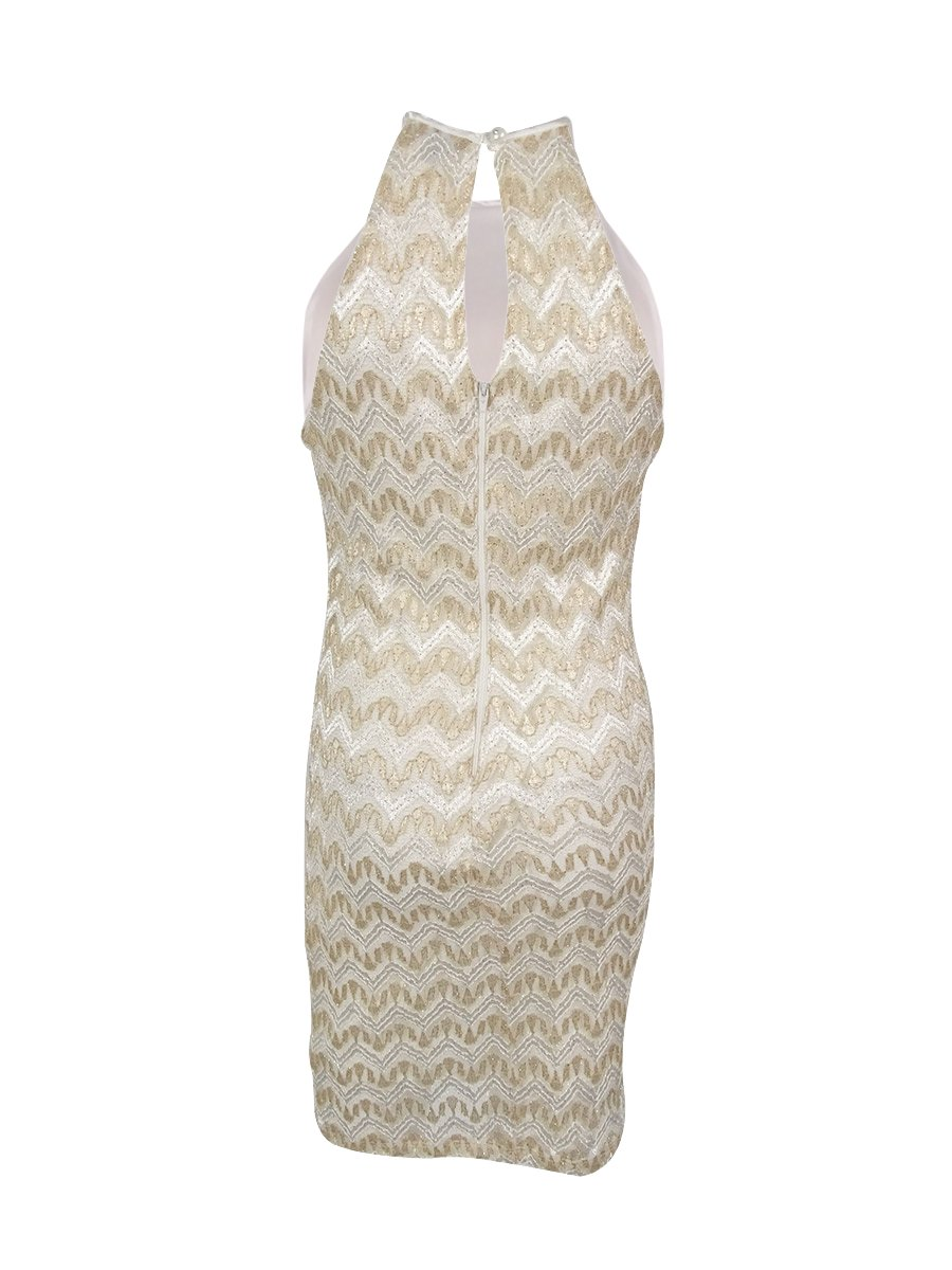 My Michelle Sequin Hearts by Junior's Horizontal Stripe Dress with High Neckline Key Hole at Back, Ivory/Gold, 9 by My Michelle (Image #2)
