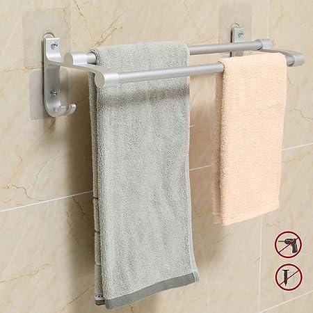 Hawsam No Drilling Double Bathroom Towel Bar Rail Aluminum