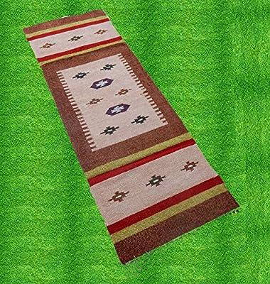 iinfinize - Alfombra de algodón de Seda Tejida a Mano, Alfombra Kilim, Alfombra de Pasillo, tapete de Piso para Interiores, Exteriores, para Yoga, Cocina, decoración del hogar: Amazon.es: Hogar