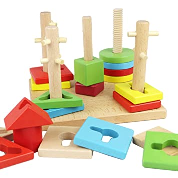 Wooden Geometry Block Puzzle Kids Baby Montessori Early Learning Educational Toy