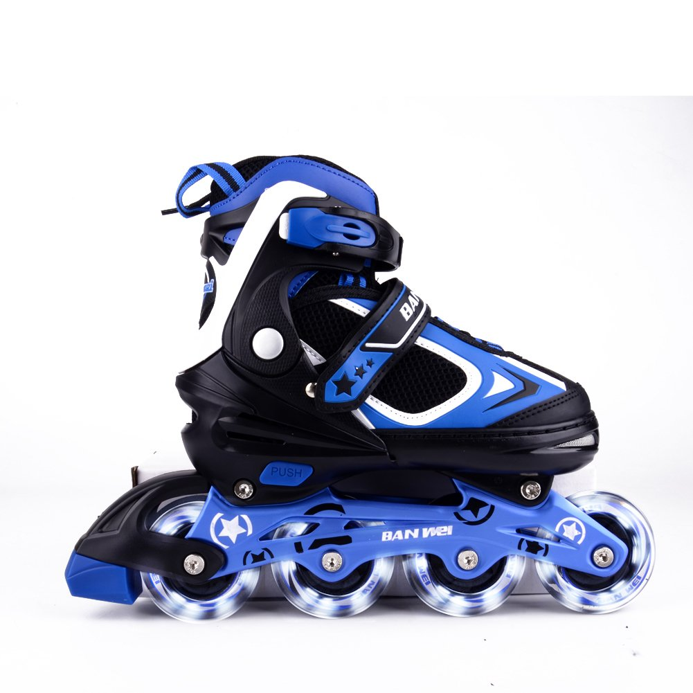 MammyGol Adjustable Inline Skates Kids, Rollerblades Girls Boys Light up Wheels Size 2-4 (Black & Blue)