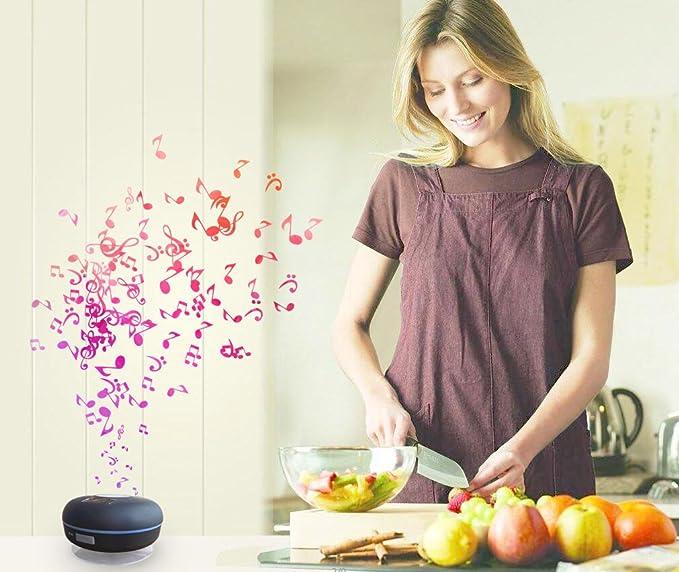 Altavoz de Ducha inalámbrico en Tonos agrietados, Altavoz Bluetooth con Resistente al Agua IPX7 + Radio FM + 2600 mAh + NFC, luz Nocturna: Amazon.es: ...
