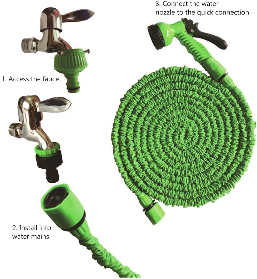 matadobody High Pressure Spray Gun Magic 3 Times Adjustable Telescopic Garden Water Pipe Duct Hose Multi-Function High Pressure Washing Water Gun Irrigation Set 75ft