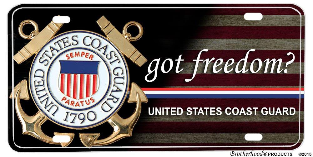 Brotherhood Products Coast Guard Got Freedom Aluminum License Plate