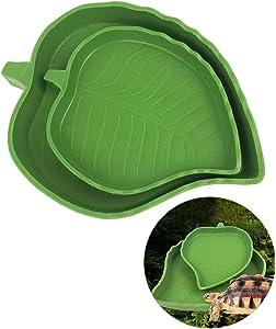 POPETPOP Reptile Food and Water Dish,2 Pcs Bowls for Pet Aquarium Ornament Terrarium Dish Plate Lizards Tortoises or Small Reptiles