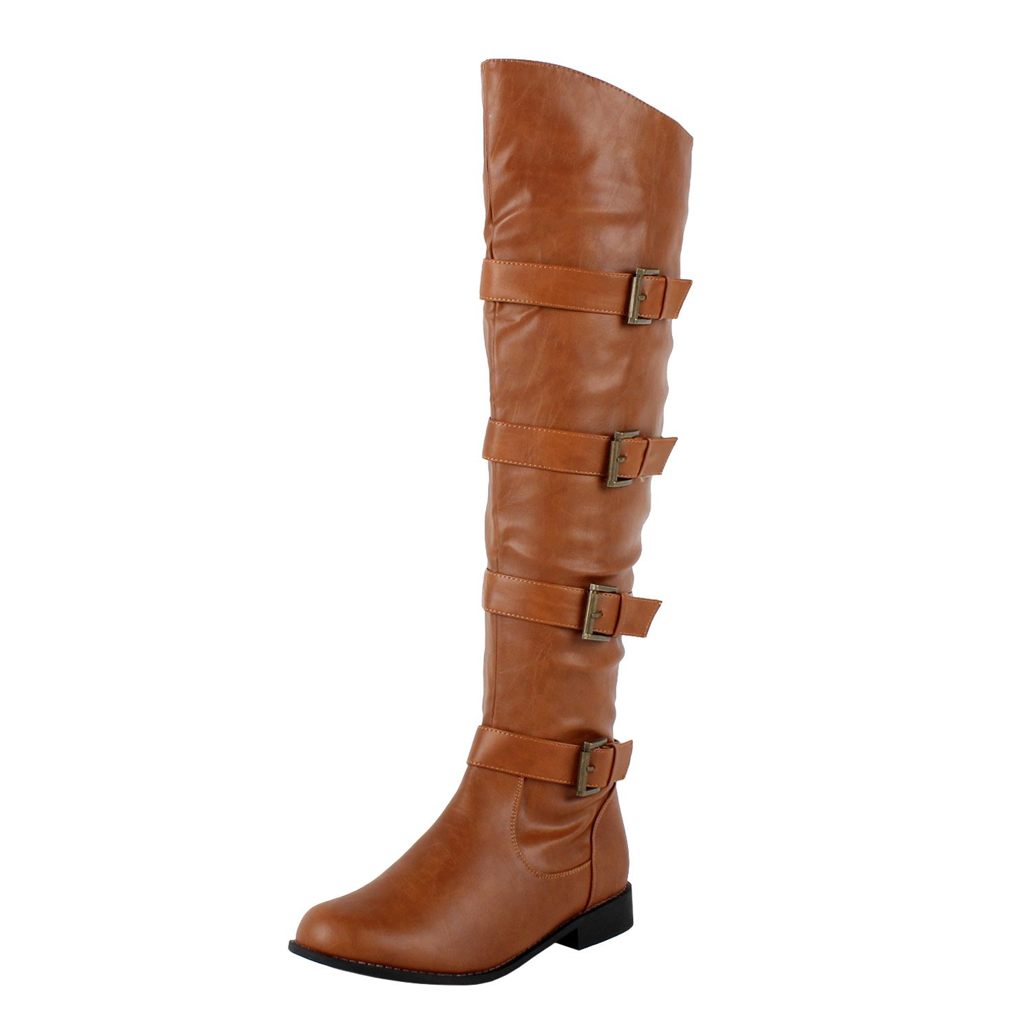 Women's Tehran Buckle Multi-Straps Thigh High Tan Faux Leather Boots