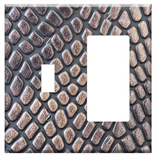 1-Toggle 1-Rocker/GFCI Combination Wall Plate Cover - Skin Texture Crocodile Macro Wallpaper Backgr ()