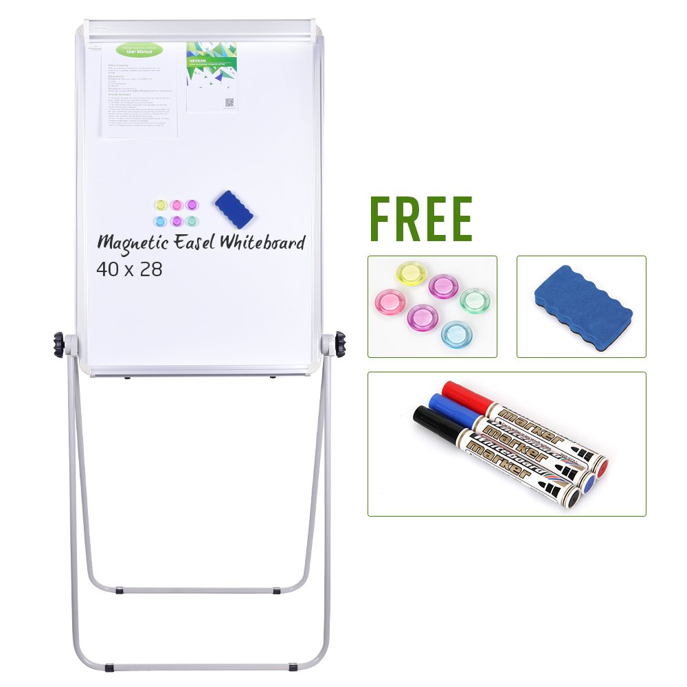 Stand Board - 40x28 inches Magnetic Whiteboard Double Sided Dry Erase Board, Portable Whiteboard / Flipchart Easel, Height Adjustable & 360 Degree Rotating w/ 1 Eraser, 3 Markers, 6 Magnets