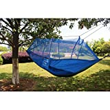 MAZIMARK Portable Parachute Nylon Fabric Hammock for two person Travel Camping Blue