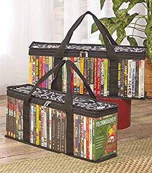 DVD Storage Organizer Damask Pattern - Classic Set of 2 Storage Bags with Room for up & Amazon.com: DVD Storage Organizer Damask Pattern - Classic Set of 2 ...
