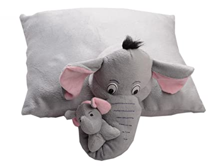 Pearl World Babys Folding Pillow Soft Toy Mother Elephant with Baby Stuffed Soft Plush Toys