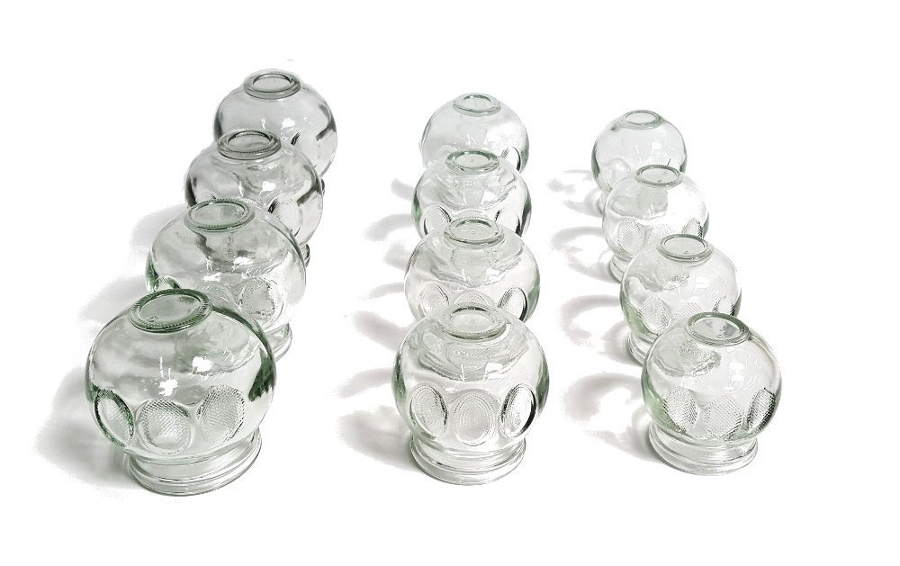 12 pc Fire Glass Cupping Set Jars Professional Quality (4 cups #3 ) (4 cups #4) (4 cups #5) by AcuZone