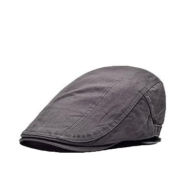 1d21db248ce8d FYDRISE Beret Homme Vintage Chapeau de Soleil Casquette Souple Plate Gris