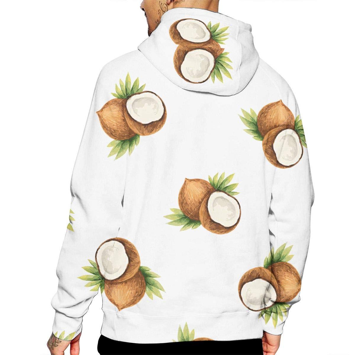 YUANSHAN Coconut Fruit Mans Long Sleeve Hoodie Casual Pocket Hooded Sweatshirt