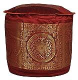 Elegant Handmade Mandala Work Silk Pouf Ottoman Cover 17 X 17 X 12 Inches