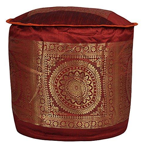 Elegant Handmade Mandala Work Silk Pouf Ottoman Cover 17 X 17 X 12 Inches by Lalhaveli