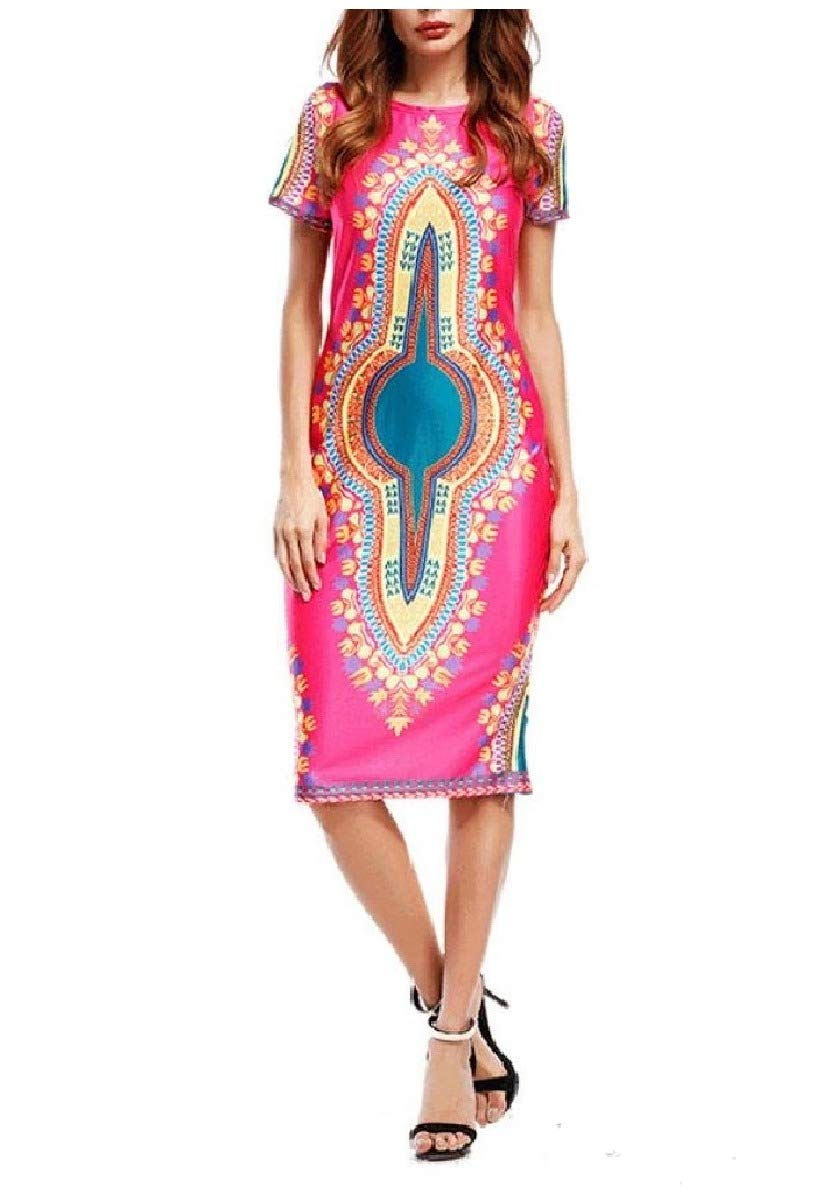 Comaba Womens Short-Sleeve Dashiki African Wax Fabric Slim-Fit Dress Rose Red XS