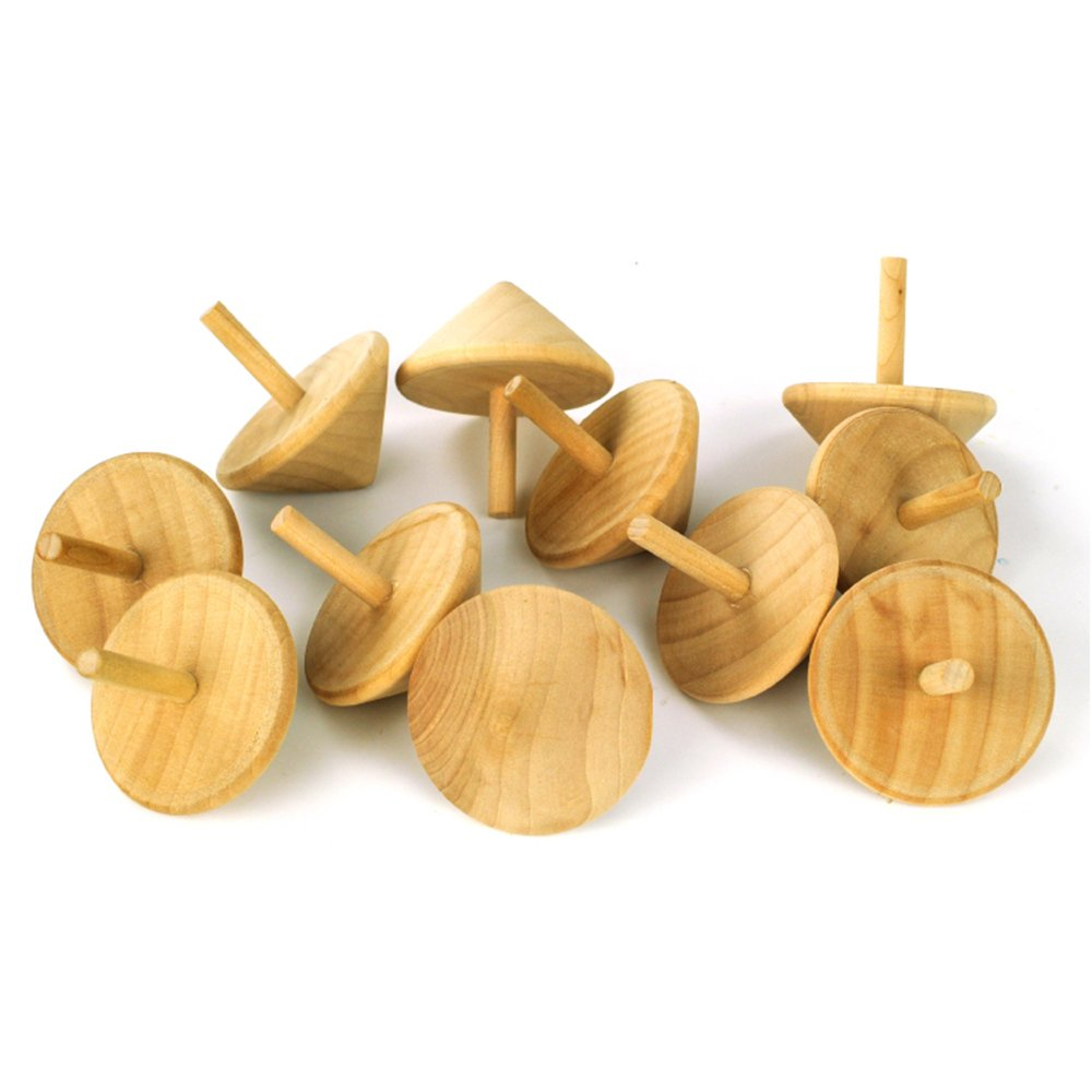 SUPOW 11 Pieces Wooden Spinning Top Gyro, Heart Shaped Wooden Spinning Top Gyro Educational Toy For Kid Children