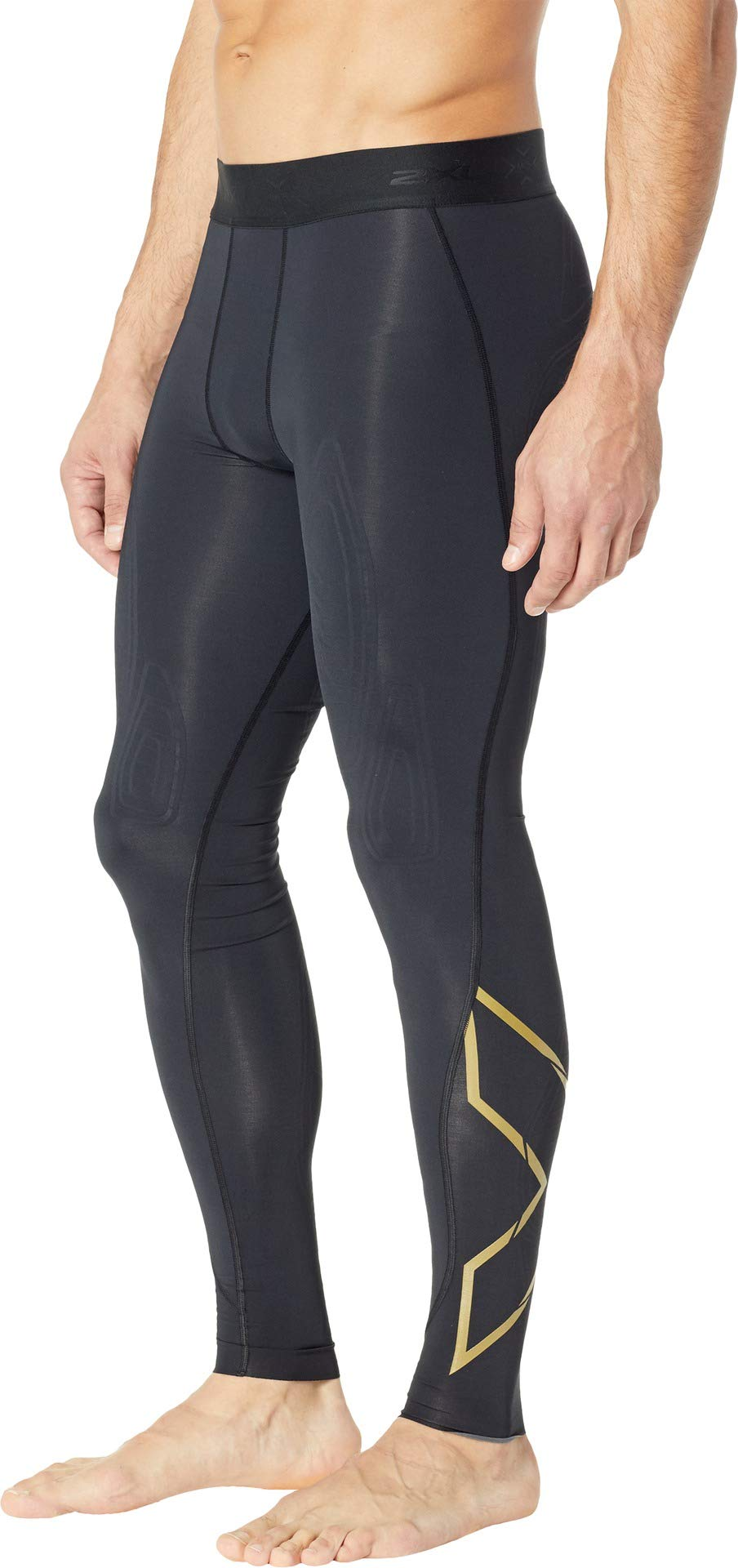 2XU Men's MCS Cross Training Compression Tights Black/Gold XX-Large R by 2XU (Image #2)