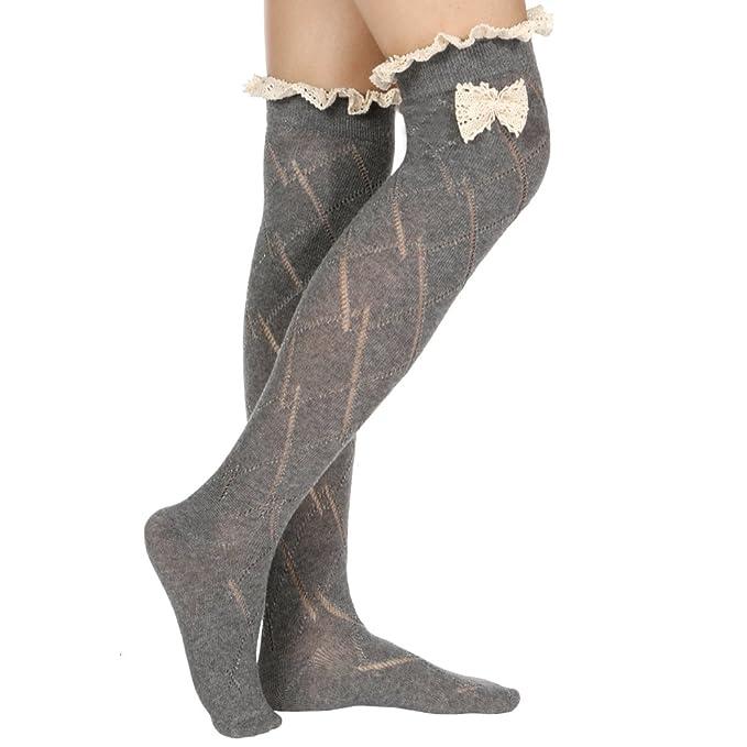Overknee calcetines - all4you 43 cm/16.8inch Mujer Encaje Con Lazo De Algodón Casual Largo Ladies Sport Rayas Stetch Overknee calcetines Gris gris Talla ...