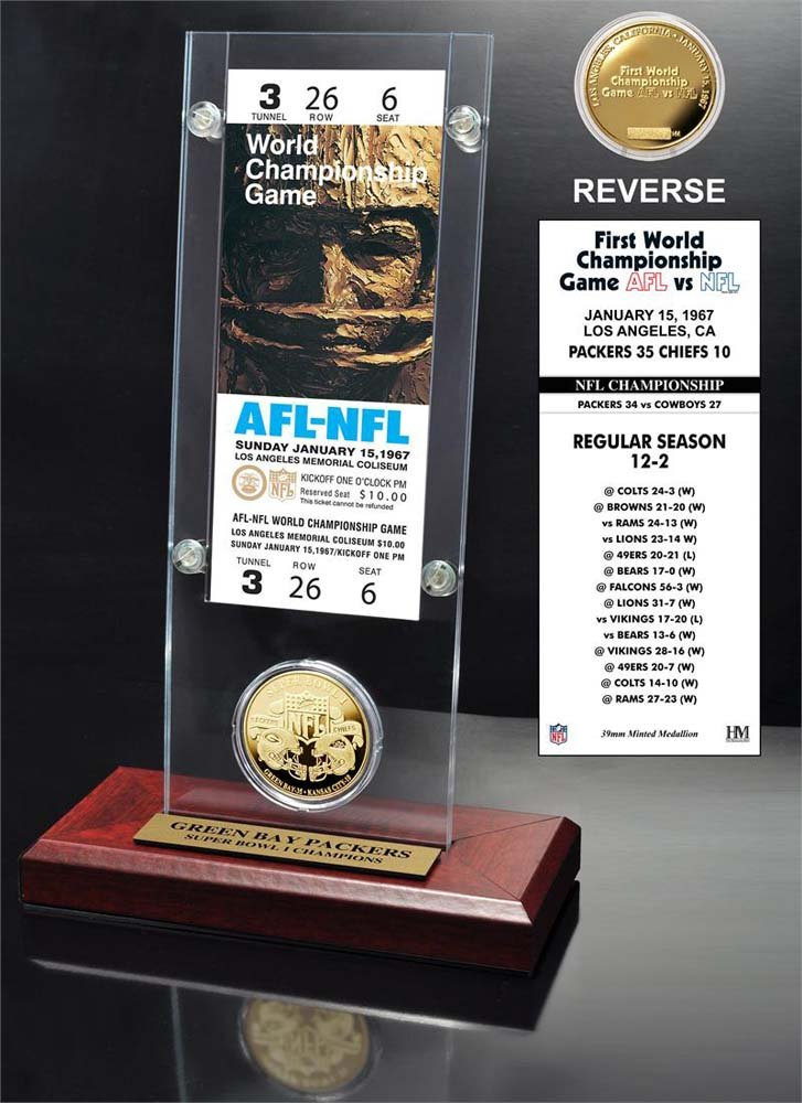 NFL Green Bay Packers Super Bowl 1 Ticket & Game Coin Collection, 12'' x 2'' x 5'', Black